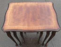 Inlaid Mahogany Nest of Coffee Tables